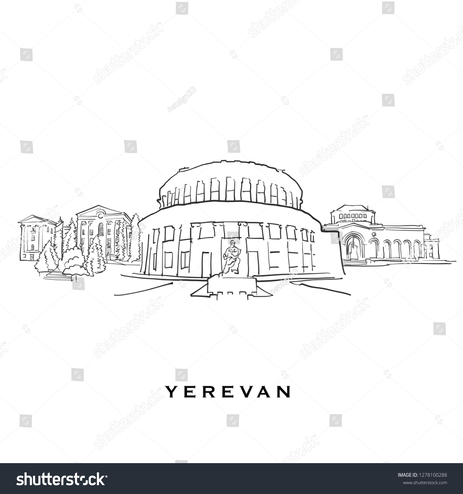 Yerevan Armenia Famous Architecture Outlined Vector Stock