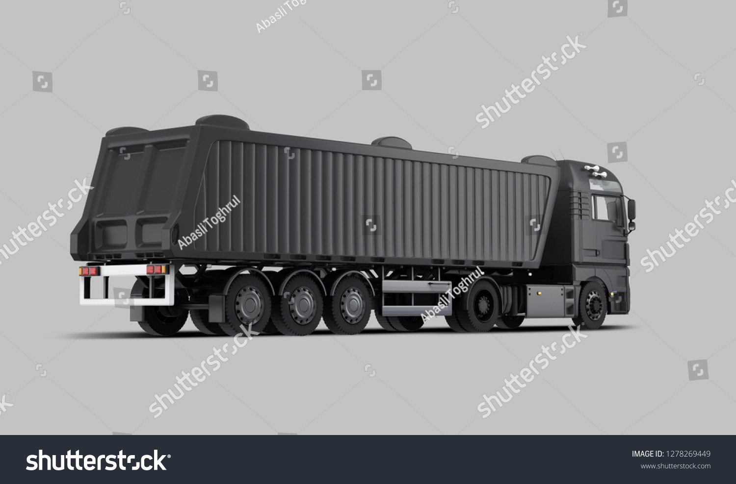 Black dump truck back view 3d rendering