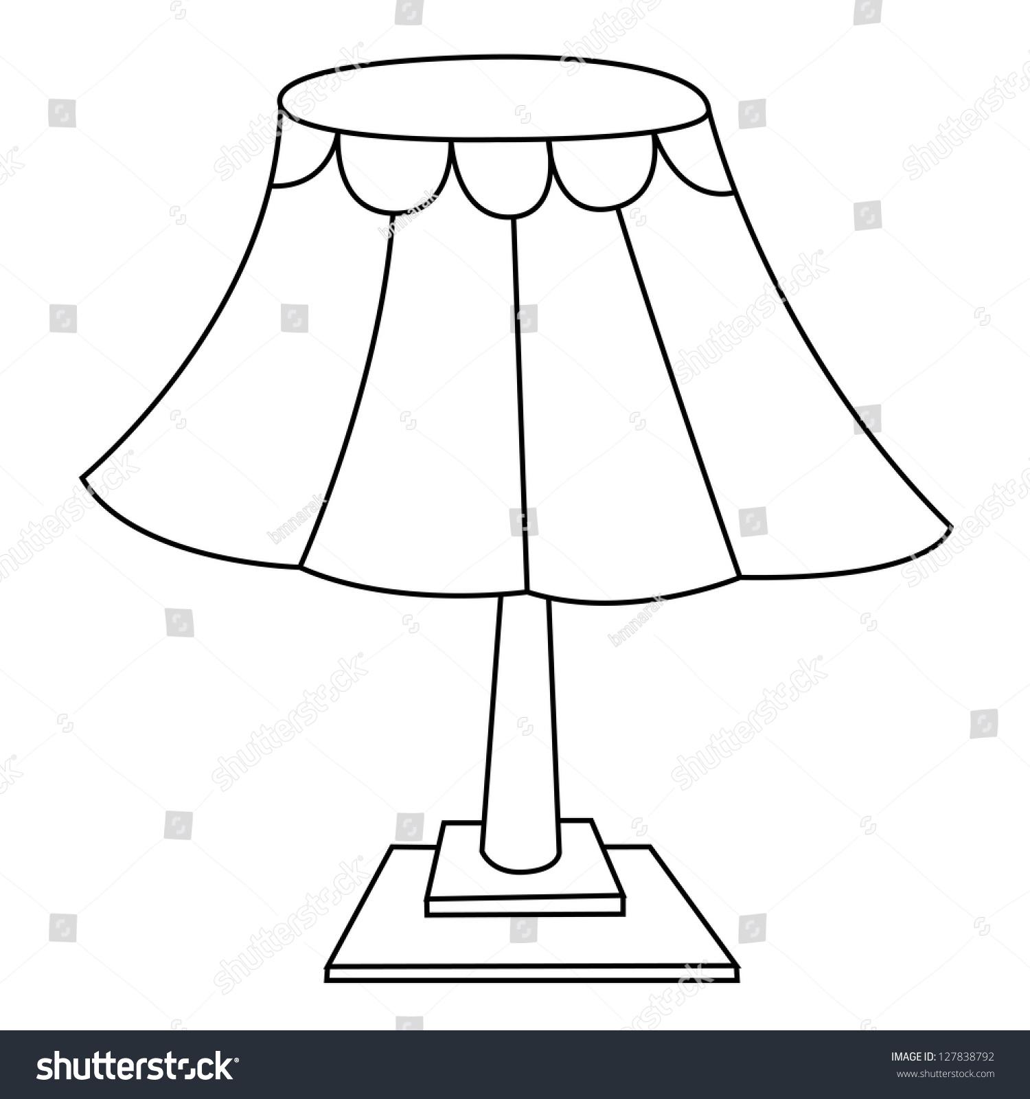 Black Outline Vector Lamp On White Stock 127838792