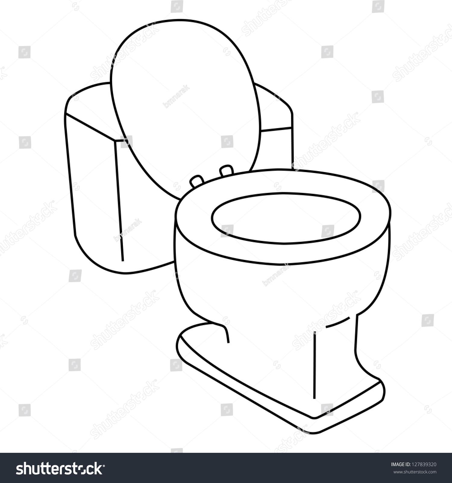 Black Outline Vector Flush Toilet On White Background