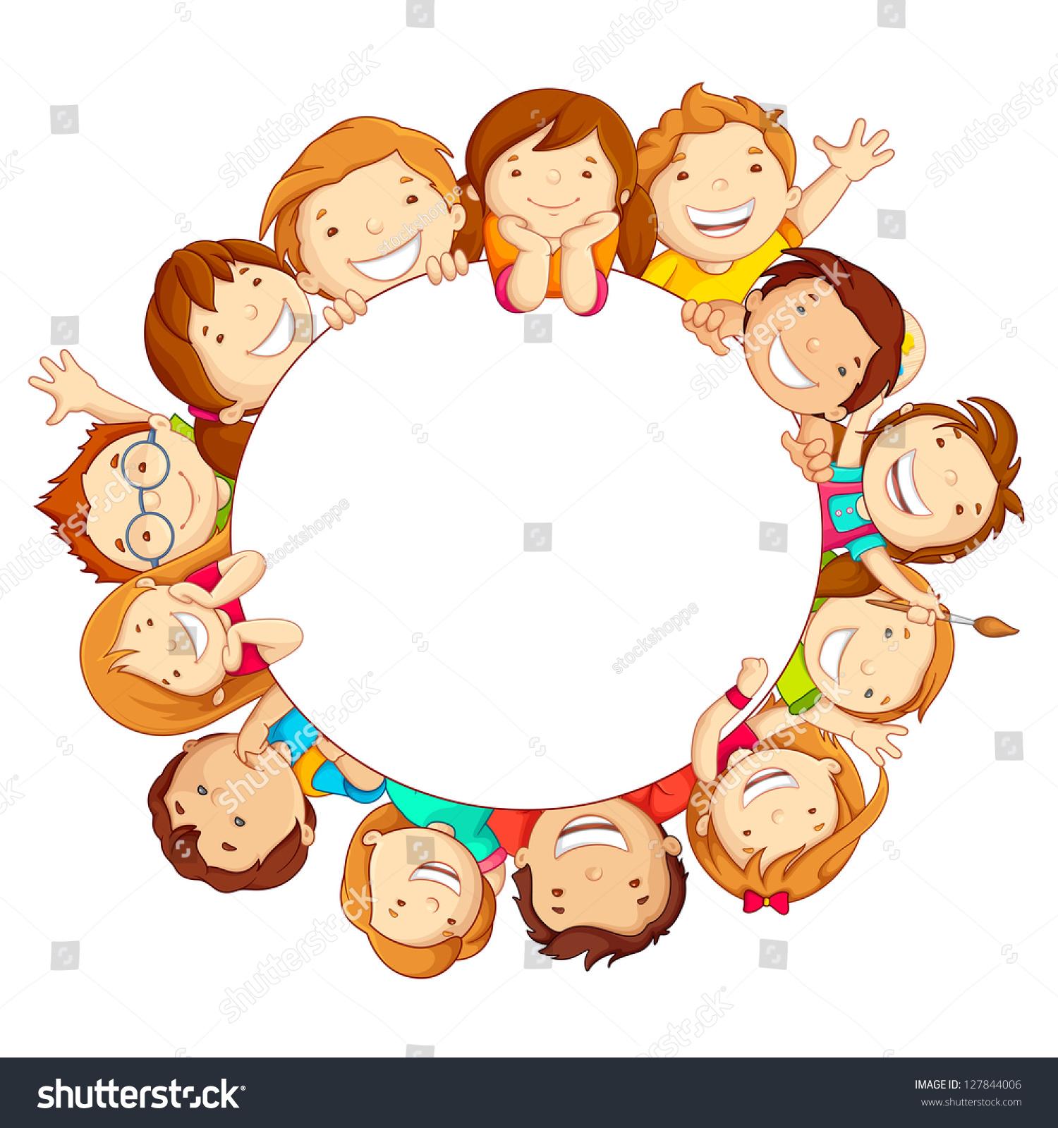 Vector Illustration Of Happy Kids Around Circular Copy