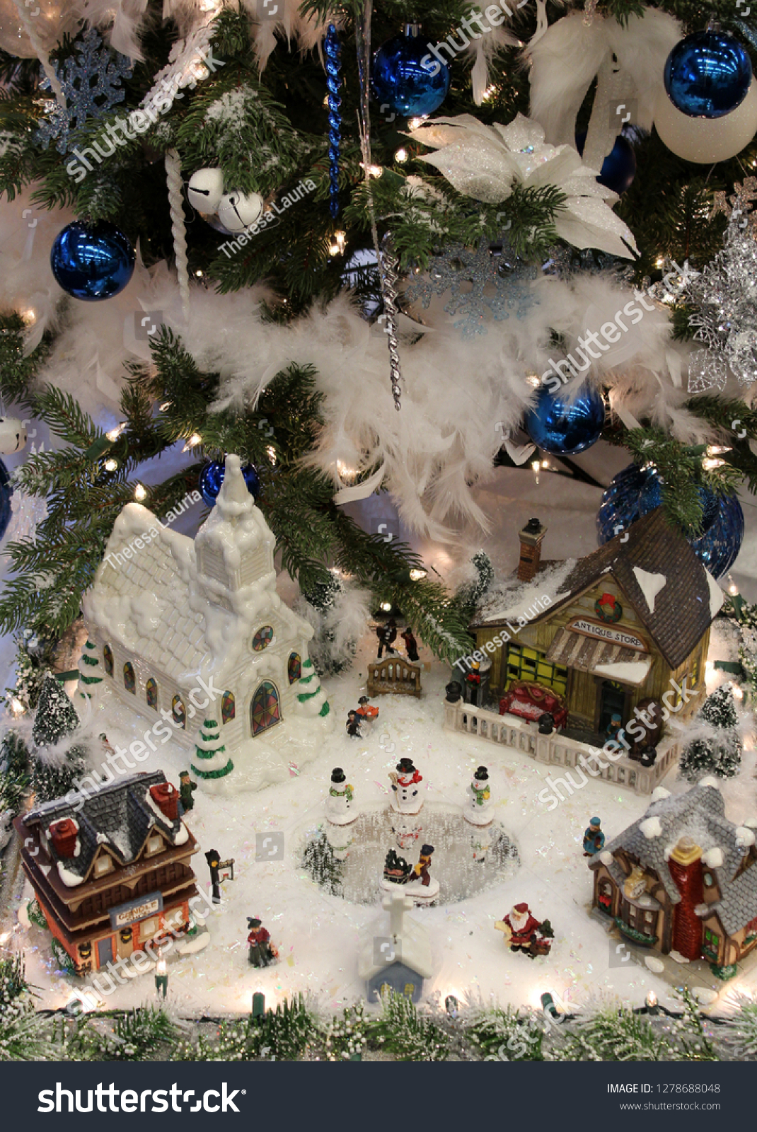 Traditional Christmas Village Snow Scene People Holidays Stock Image 1278688048