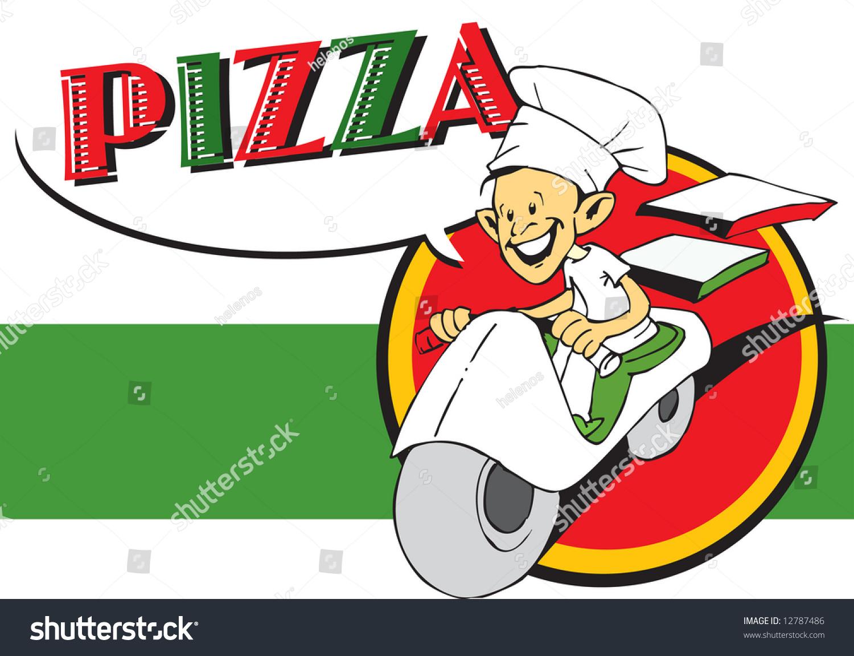 Italian Restaurant Logo With Flag: Italian Cook Pizzaiolo Pizza Logo Stock Vector 12787486