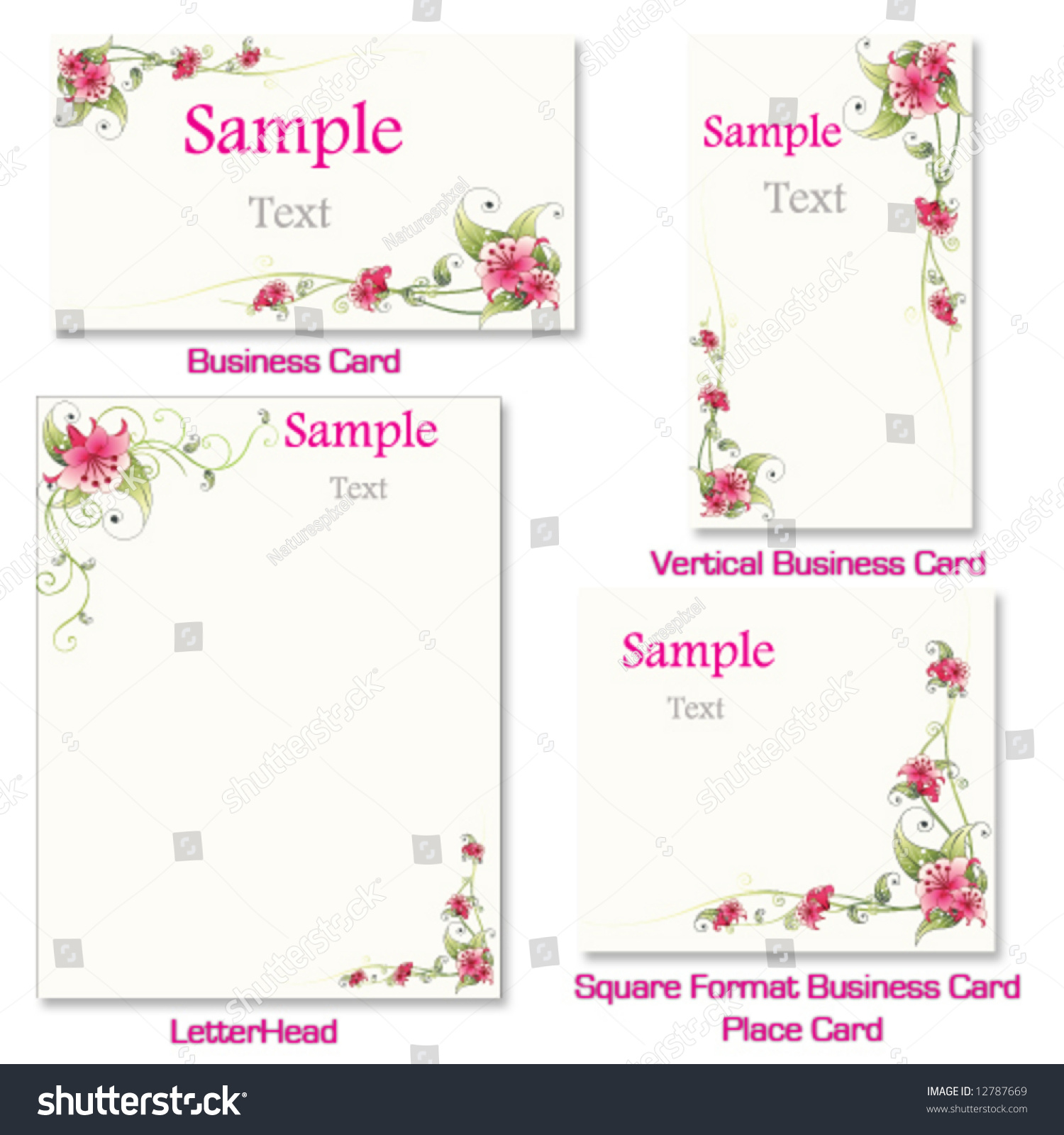 Pink Flower Business Set Including Letterhead Stock Photo (Photo ...