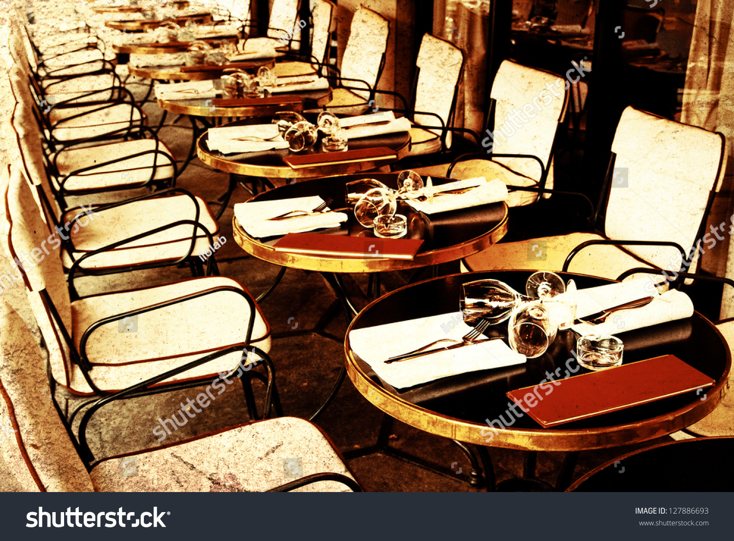 Oldfashioned Coffee Terrace Tables Chairsparis France Stock Photo 127886693 Shutterstock