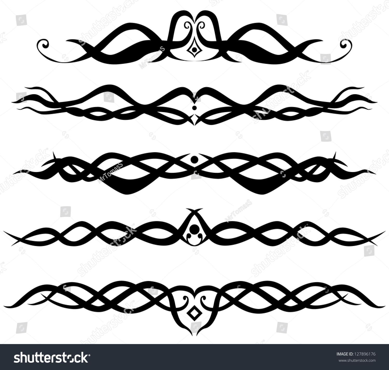 set abstract tribal designs tribal tattoo stock photo photo vector rh shutterstock com Webbed Border Tattoo Designs Art Tattoo Designs