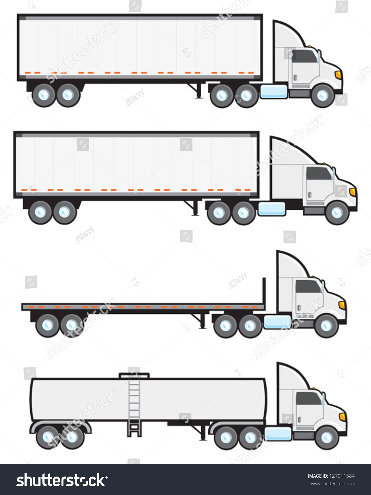 Types Of Tractor Trailers : Four common types american big rigs stock vector