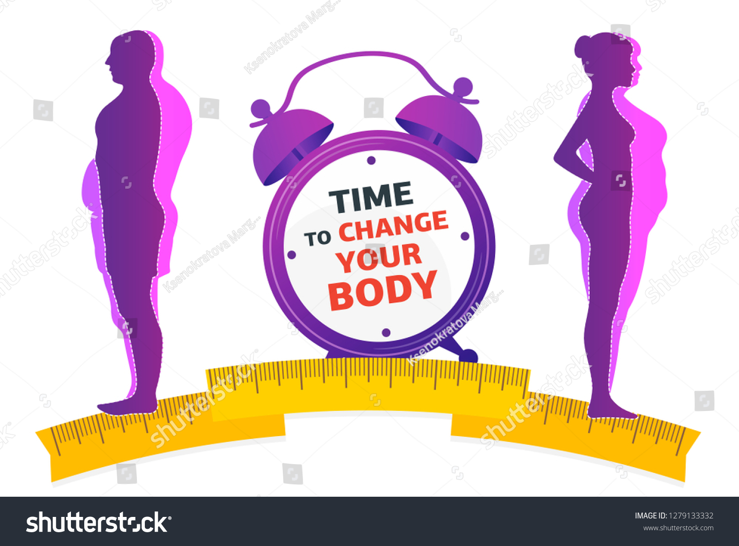 Weight Loss Time Change Your Body Stock Vector Royalty Free 1279133332