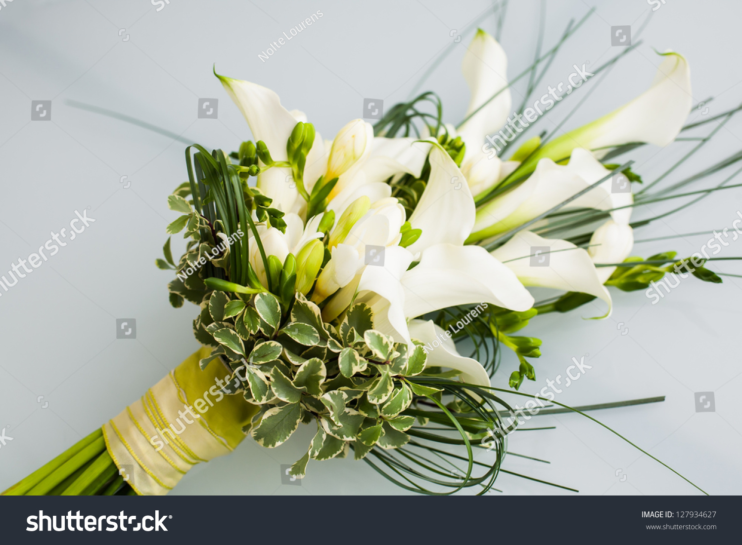 Big flower bouquet filled cala lillies stock photo edit now a big flower bouquet filled with cala lillies and other plants izmirmasajfo