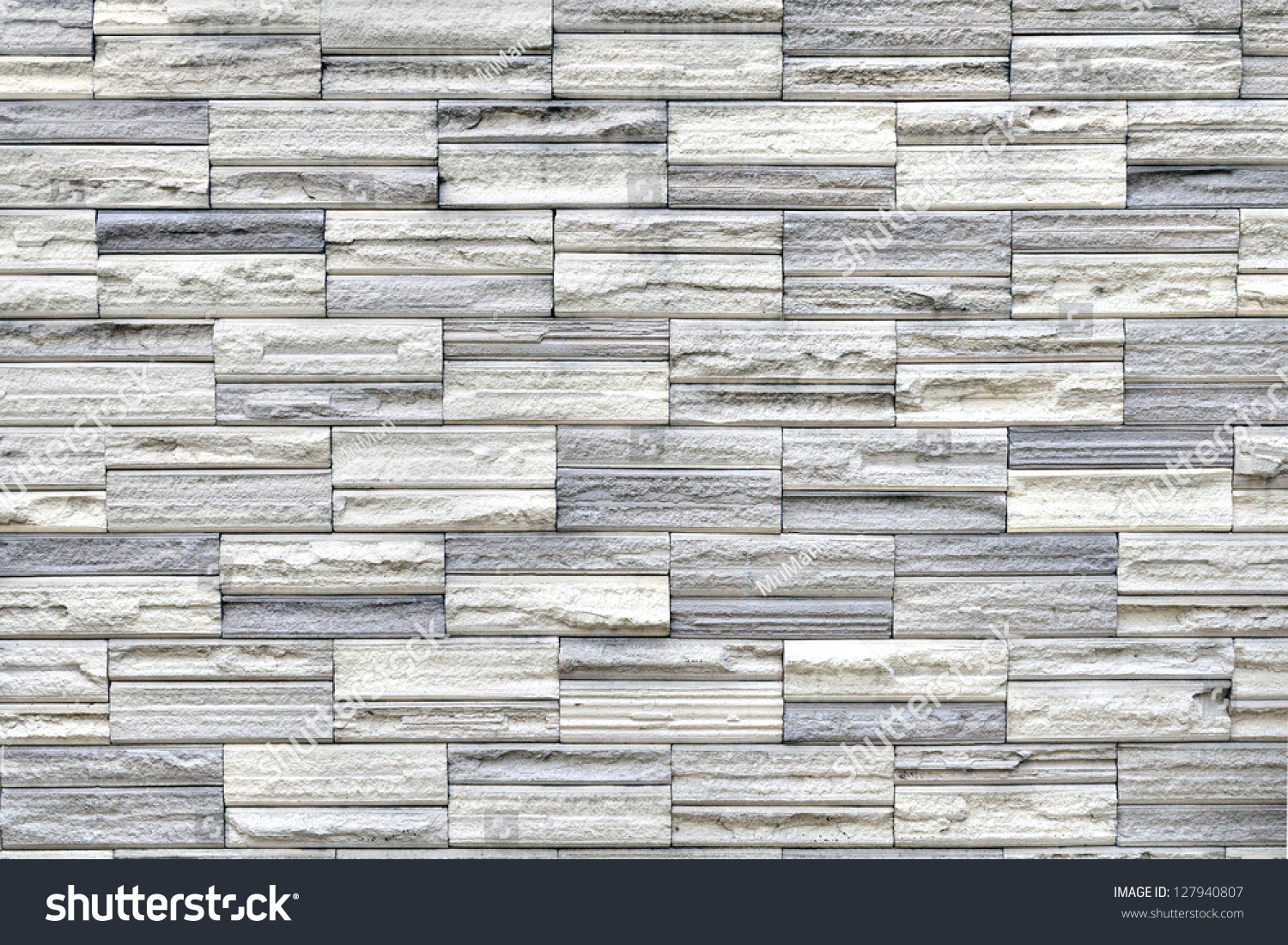 Grey Stone Tile Texture Brick Wall Stock Photo 127940807