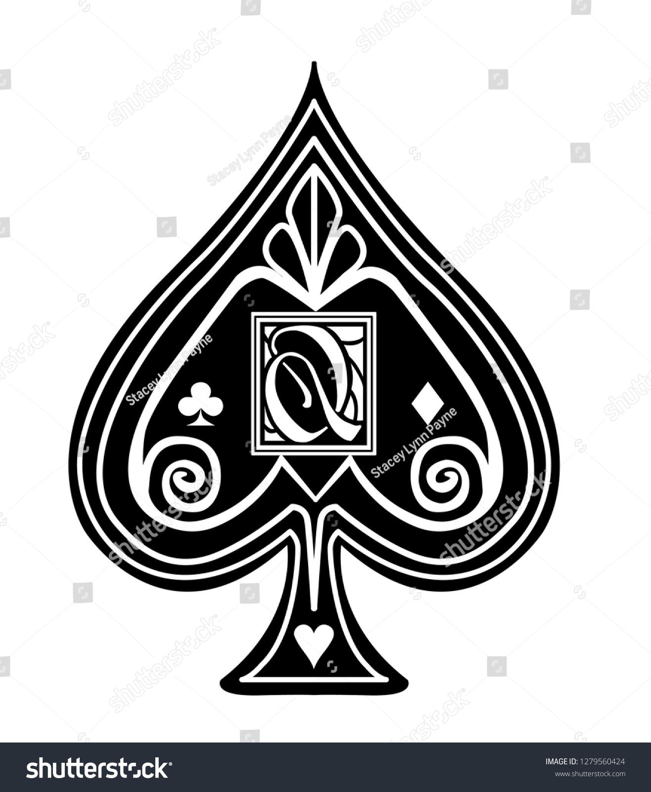 fancy spade card  Fancy Black Spade Card Suit Q Stock Vector (Royalty Free ...