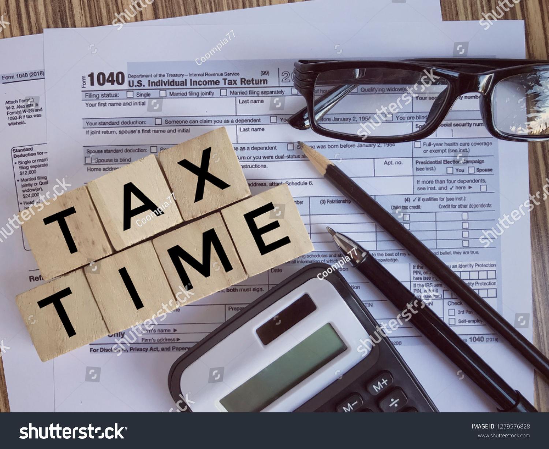 United States Federal Income Tax Return Stock Photo (Edit