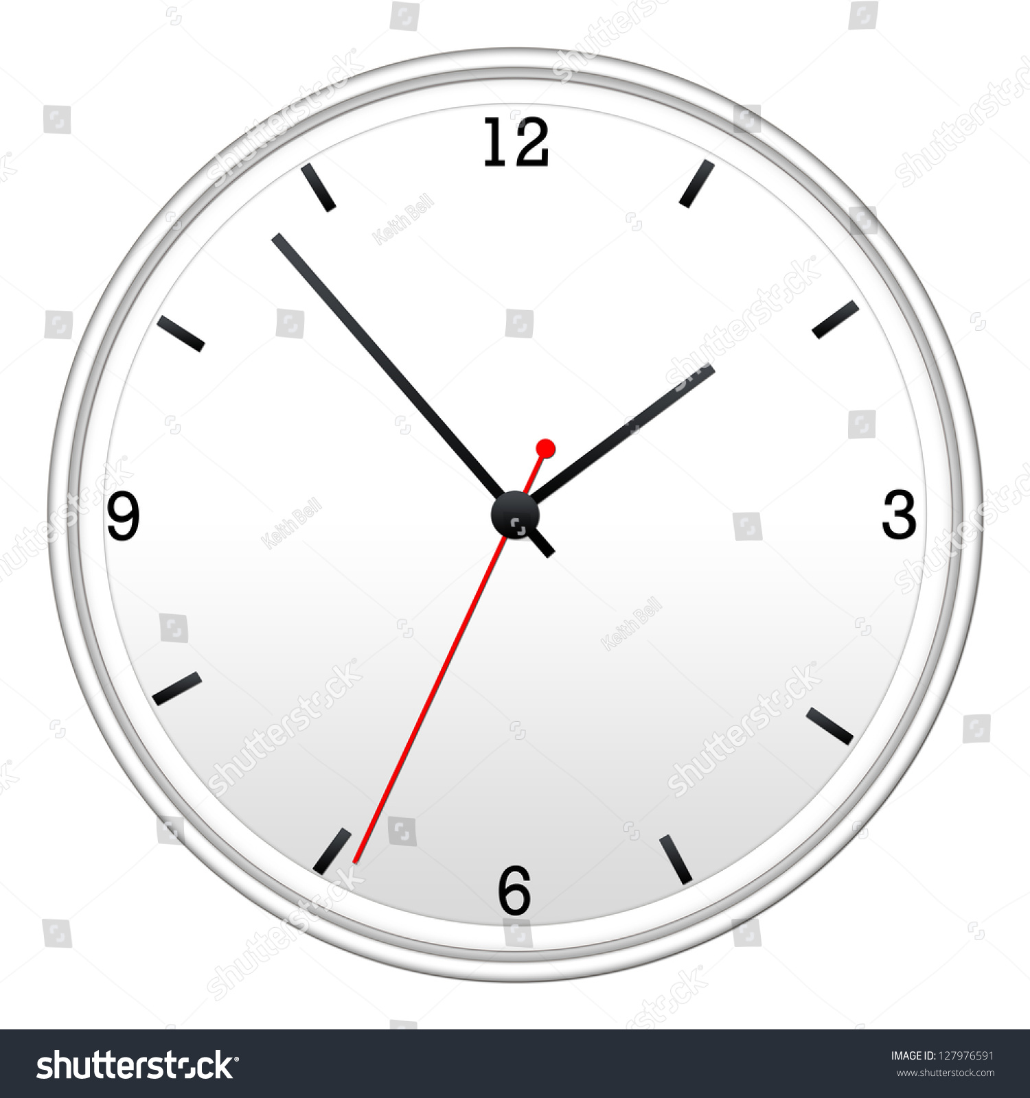 White wall clock hour minutes second stock illustration 127976591 white wall clock with hour minutes and second hand amipublicfo Image collections