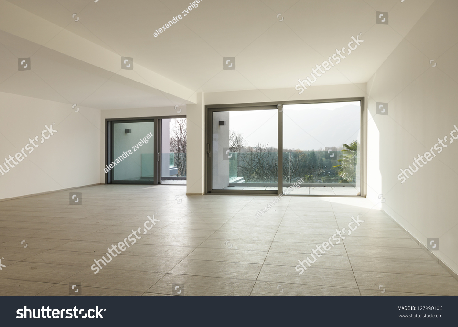 modern architecture empty apartment view wide stock photo 127990106 shutterstock. Black Bedroom Furniture Sets. Home Design Ideas