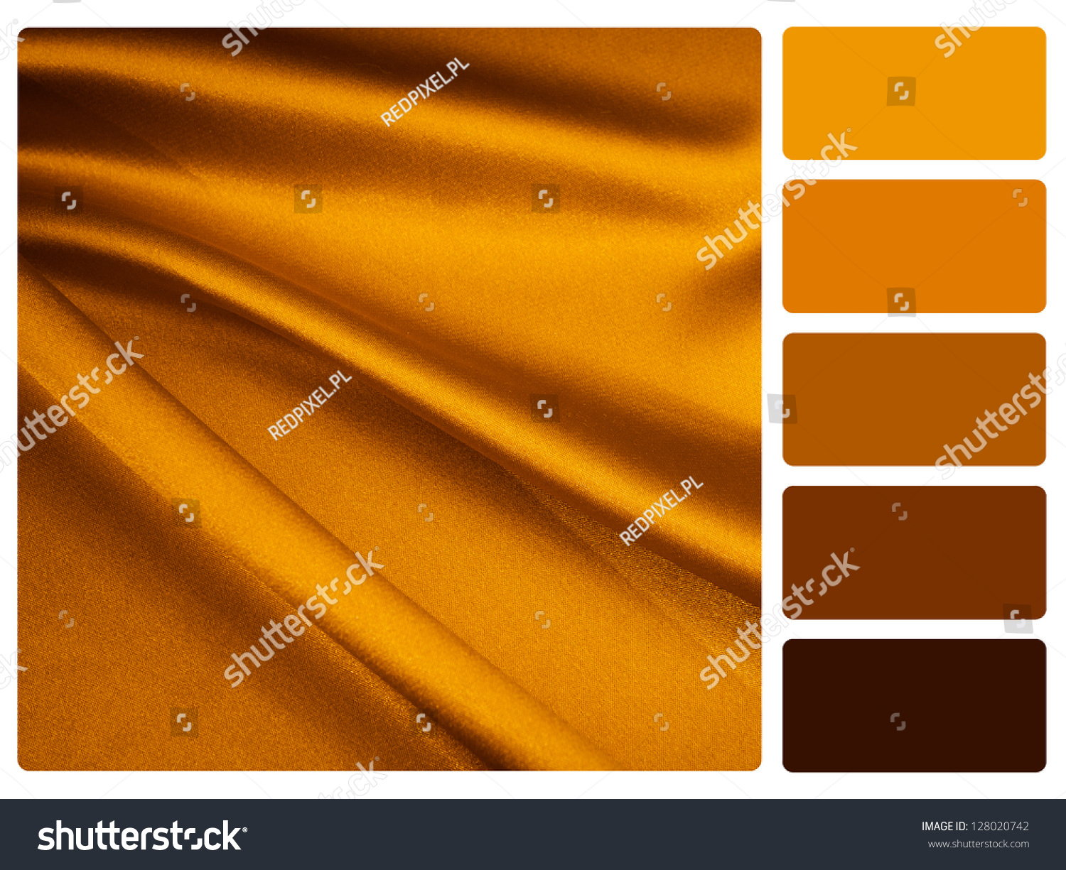 Gold Satin Color Palette Complimentary Swatches Stock ...
