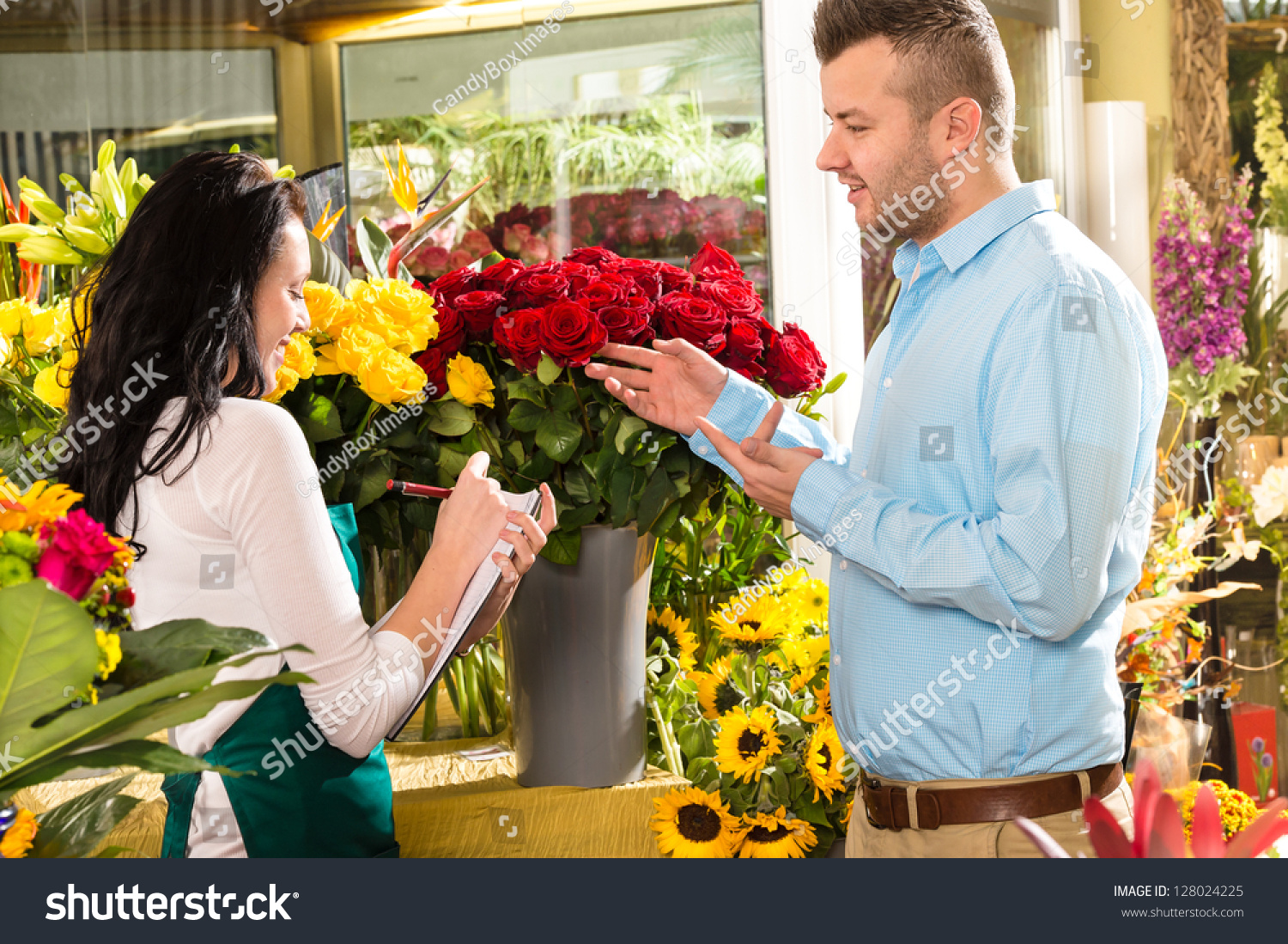 Man Customer Ordering Flowers Bouquet Flower Stock Photo Edit Now