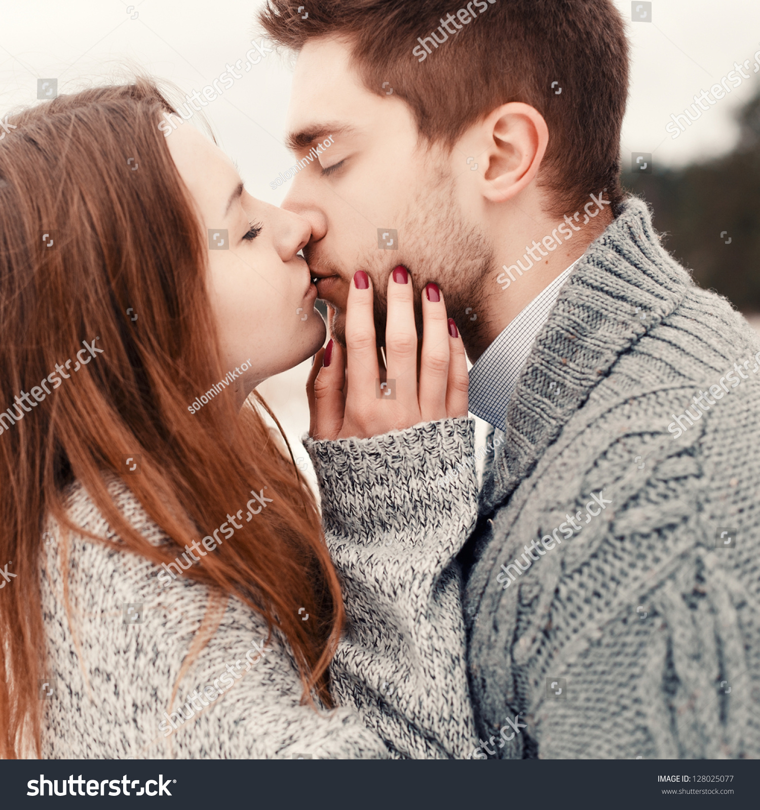 Now Boys Kiss And Makeup: Young Couple Outdoor Portrait Beautiful Pretty Stock Photo