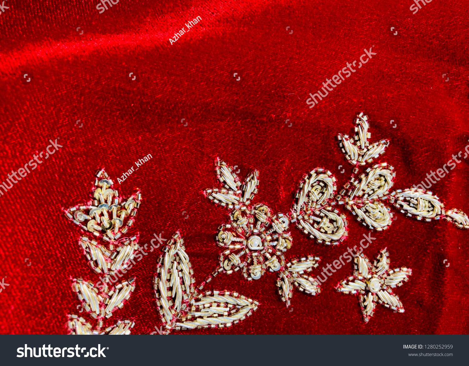 Hand Embroidered Floral Pattern On Velvet Stock Photo Edit Now 1280252959