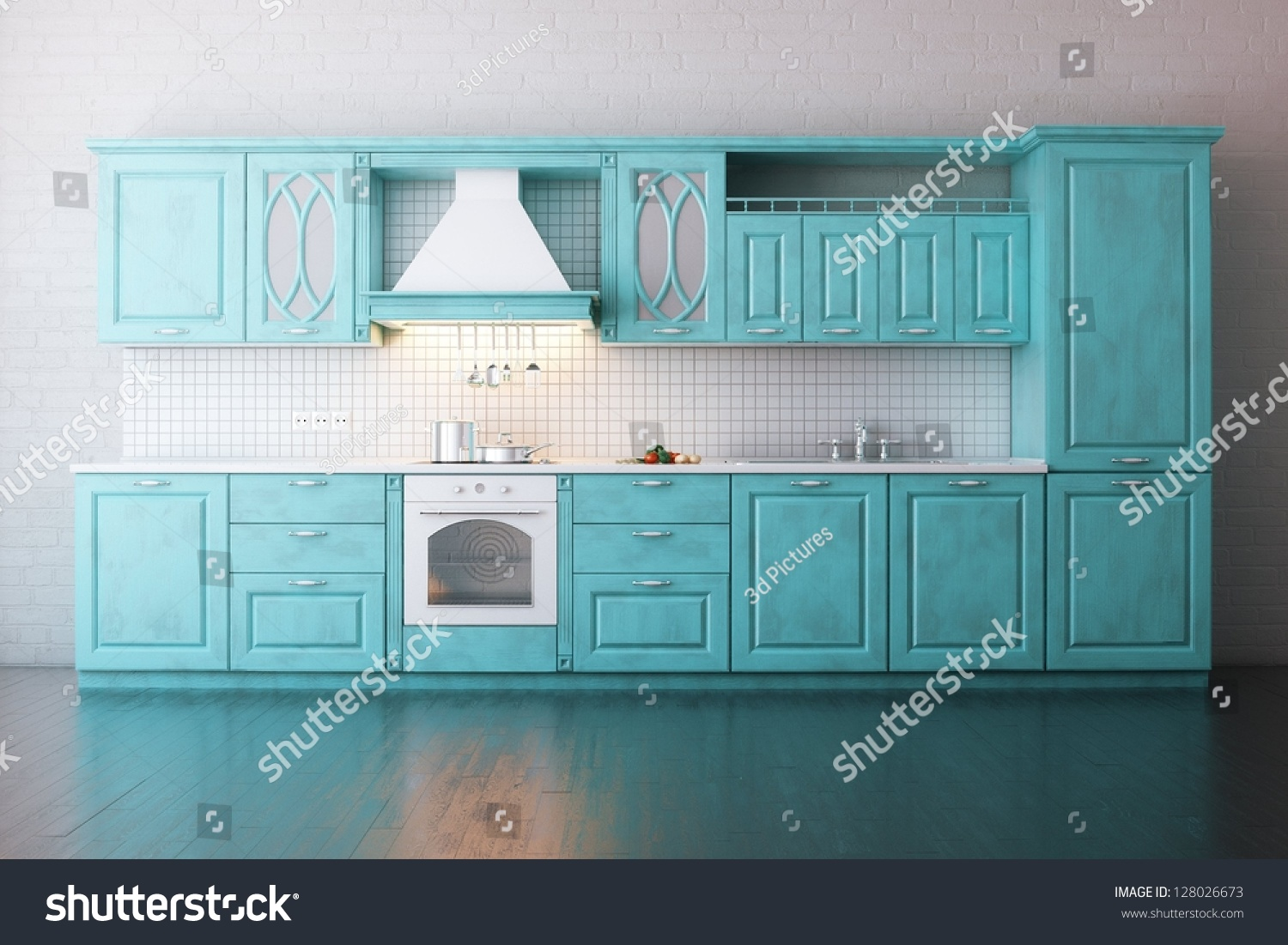 Turquoise Kitchen Classic Wooden Kitchen Painted Turquoise Stock Illustration