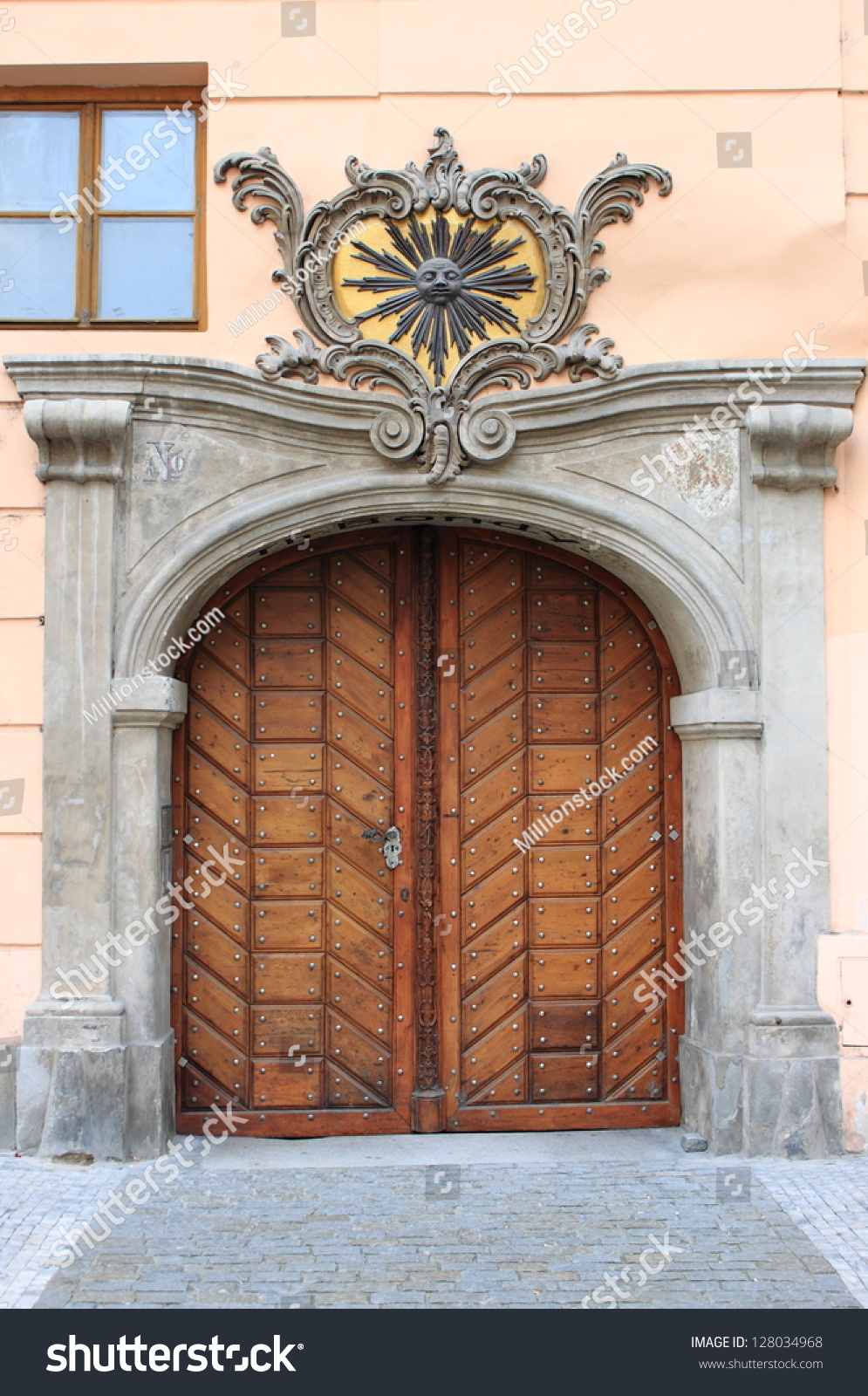 Renaissance front door in prague czech republic stock for Door z prague