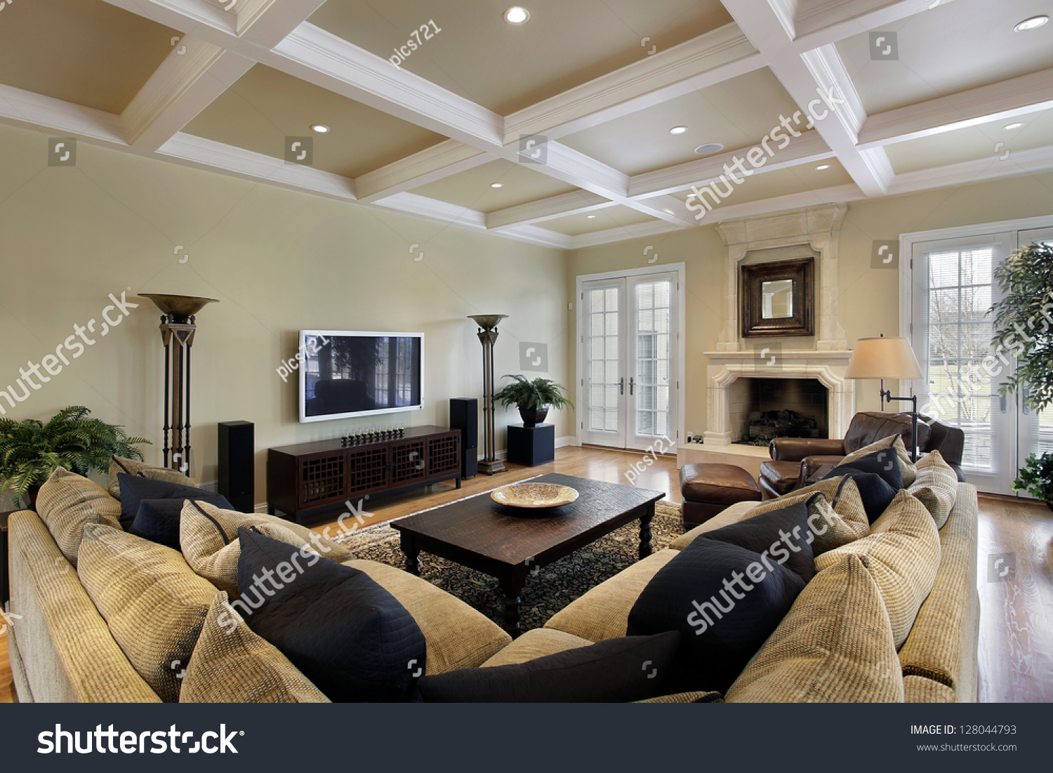 Family room luxury home fireplace stock photo 128044793 Luxury fireplaces luxury homes