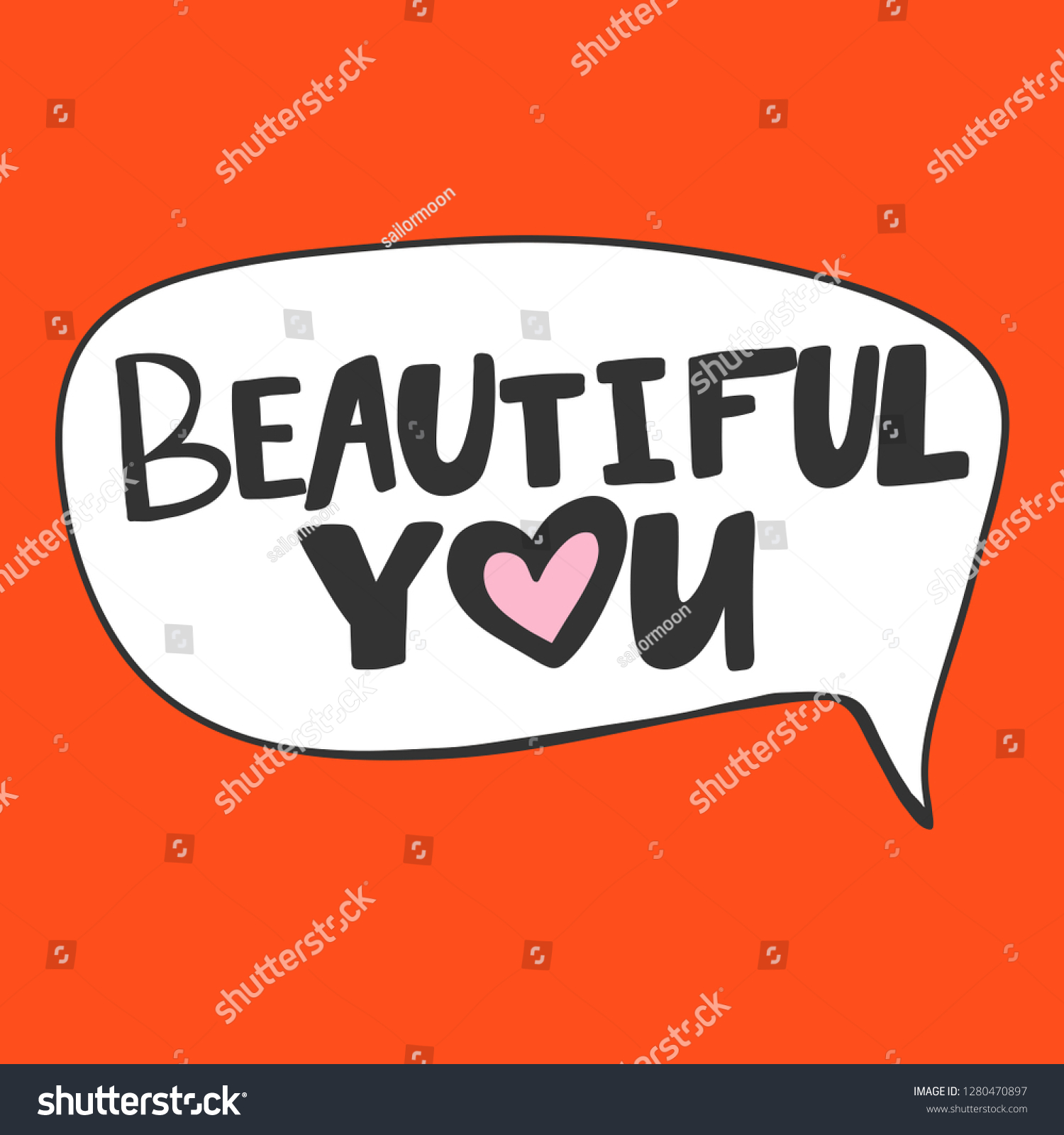 Beautiful you valentines day sticker for social media content vector hand drawn illustration design