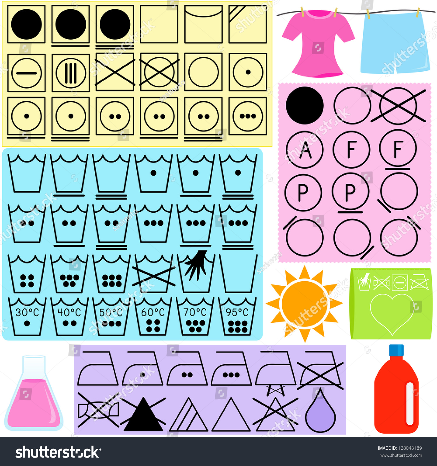 Silhouettes Vector Laundry Symbols Clothes Washing Stock Vector