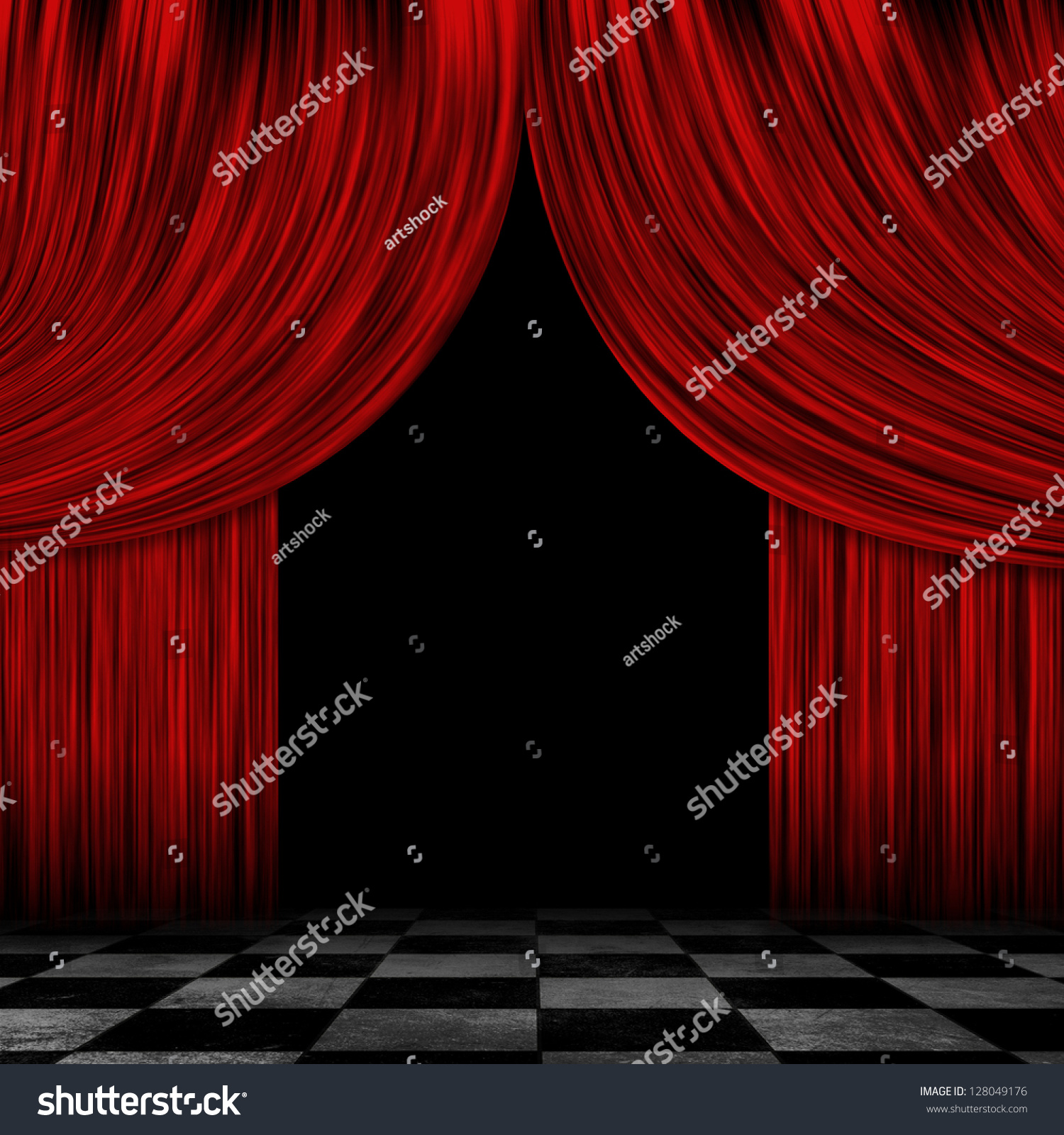 Red stage curtains open - Illustration Of Open Theater Drapes Or Stage Curtains With A Black Background