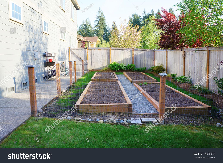 Small Vegetable Garden Risen Beds Fenced Stock Photo