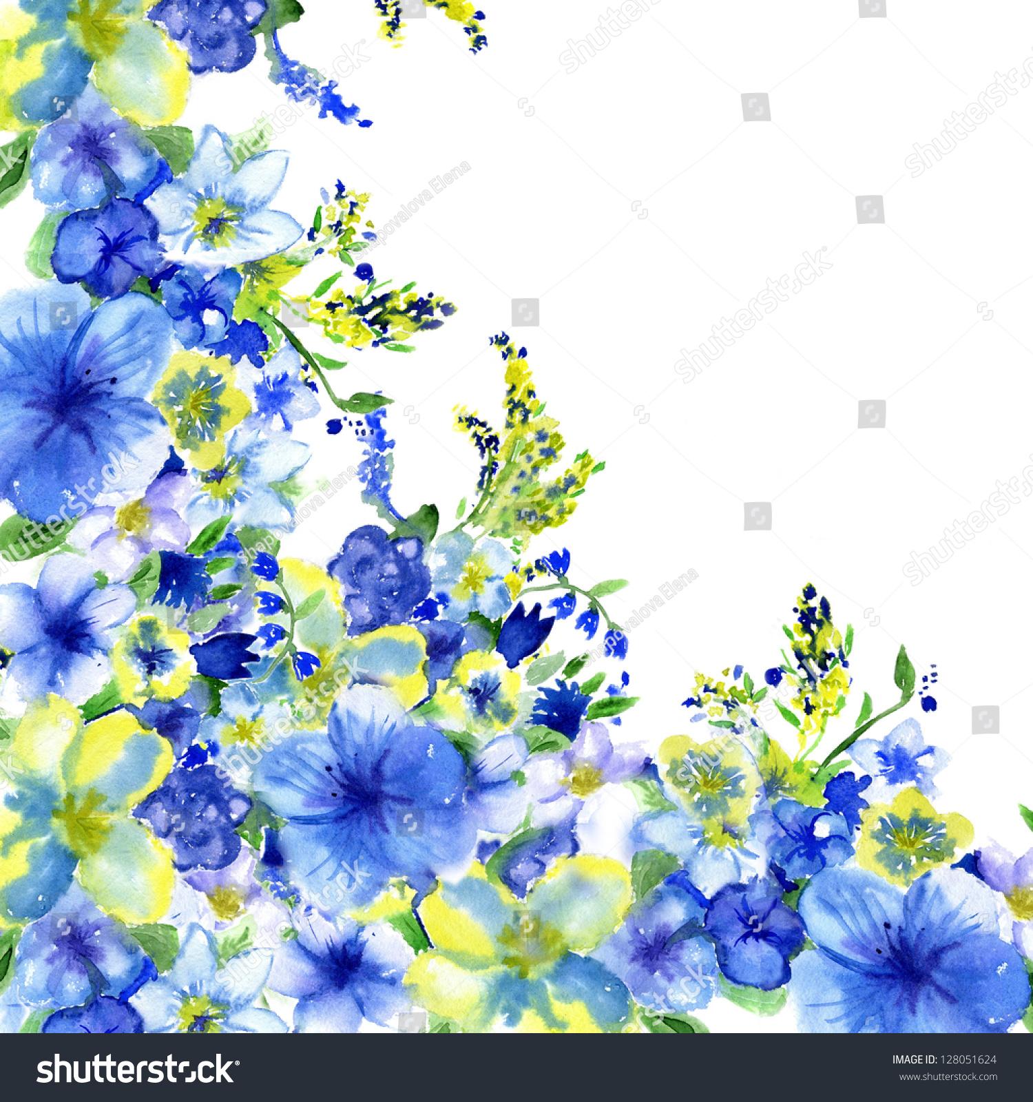 Watercolor Dark Blue Yellow Flowers On Stock Illustration 128051624