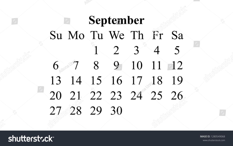 September 2020 Calendar 2020 Vector Simple Stock Vector