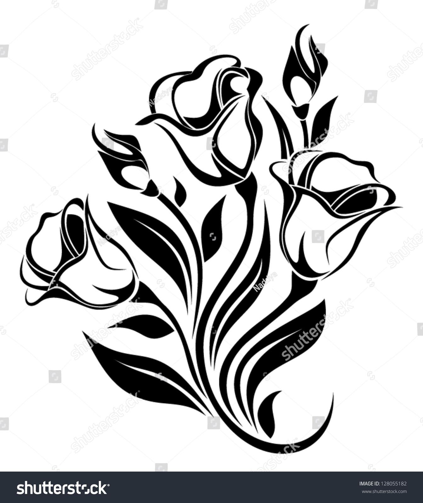 Black Flower Pattern Silhouette Stock Illustration: Black Silhouette Flowers Ornament Vector Illustration
