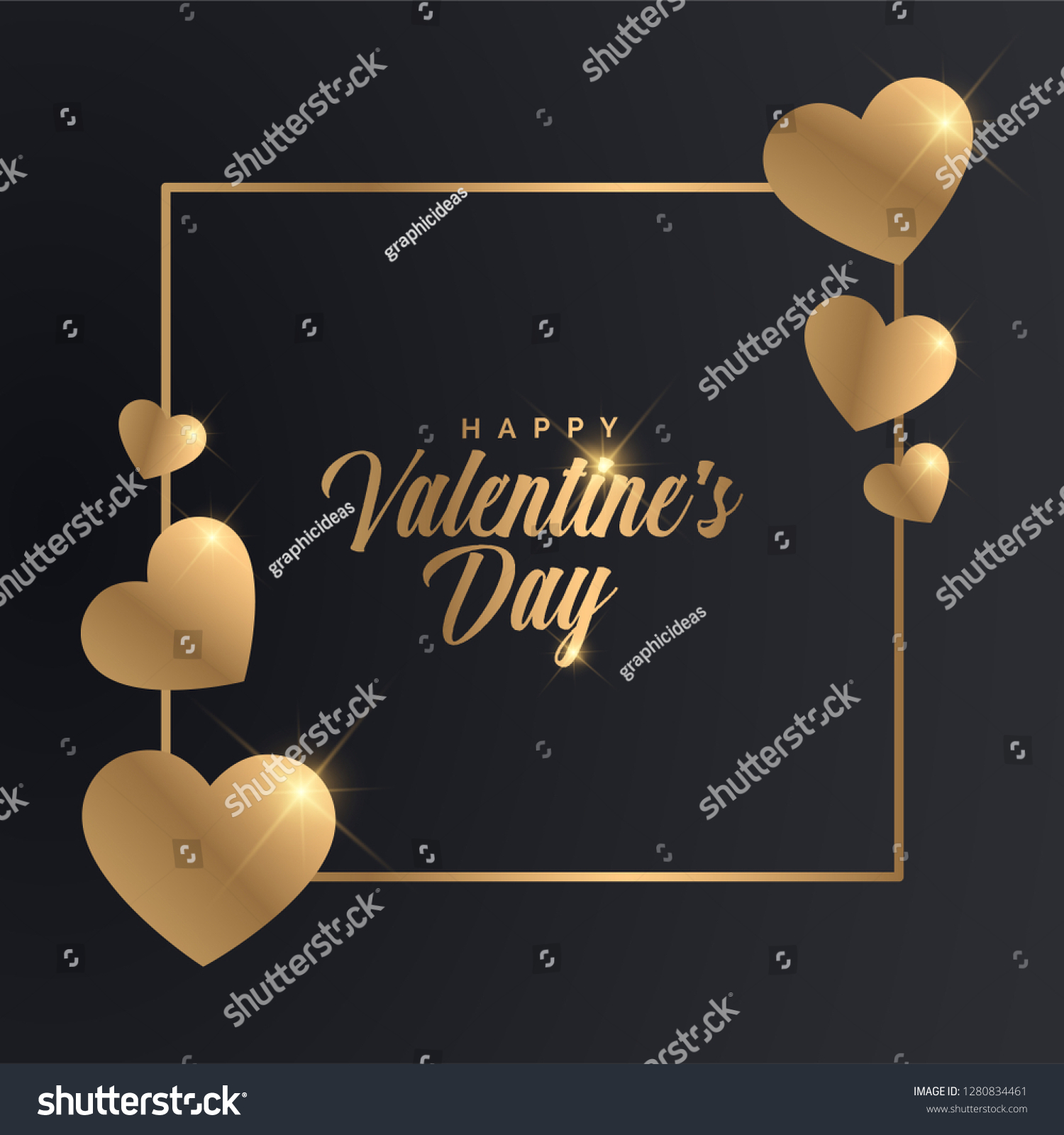 Valentines Day Banner. Luxury Golden Typographic Valentine's Day Design.  #1280834461