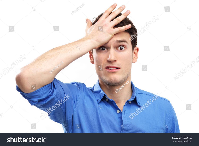 Человек бьет себя по голове : стоковая фотография (редактировать), 128088629
