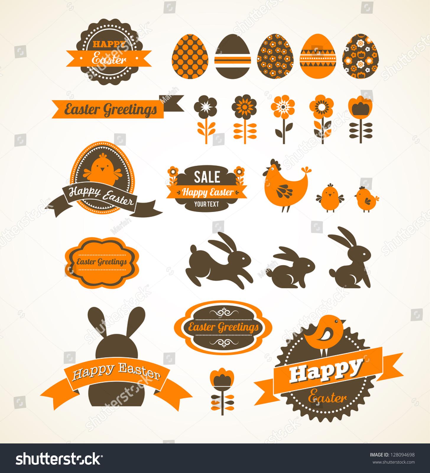 Set Easter Vintage Elements Banner Labels Stock Vector 128094698 ...