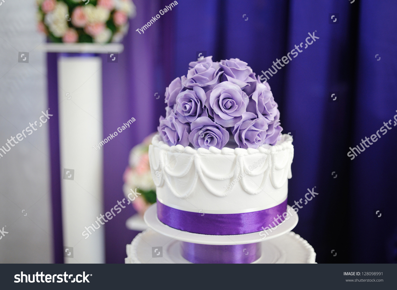 White Wedding Cake Purple Flower Detail Stock Photo Edit Now