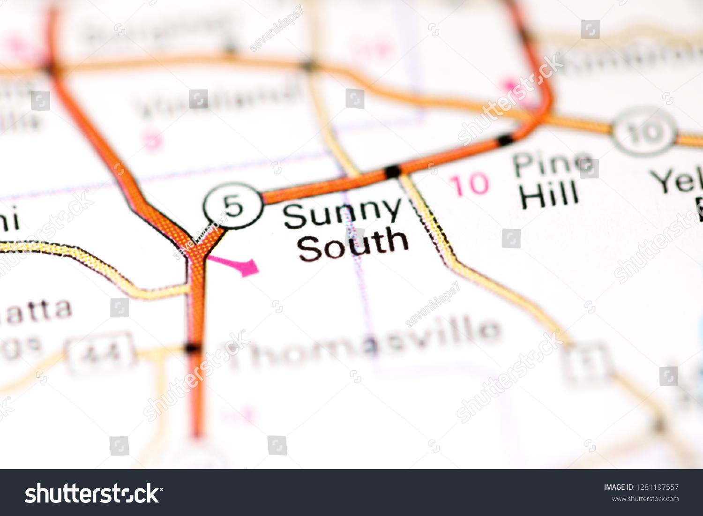 Sunny South Alabama Usa On Map Stock Photo (Edit Now) 1281197557