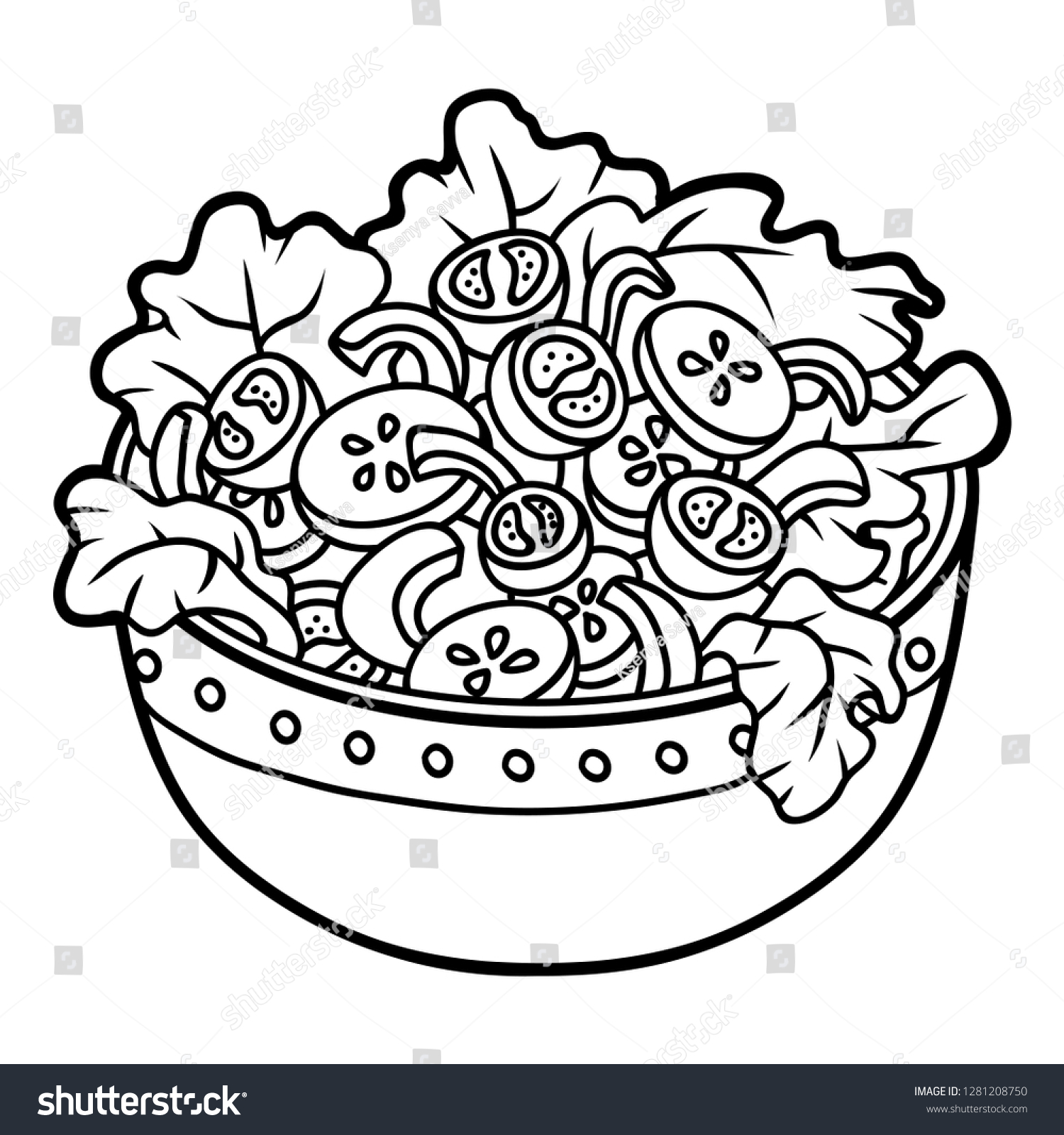 Coloring Book Children Vegetables Salad Bowl Stock Vector Royalty