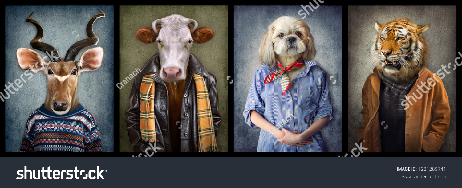 Animals in clothes. People with heads of animals. Concept graphic, photo manipulation for cover, advertising, prints on clothing and other. Antelope, cow, dog, tiger. #1281289741