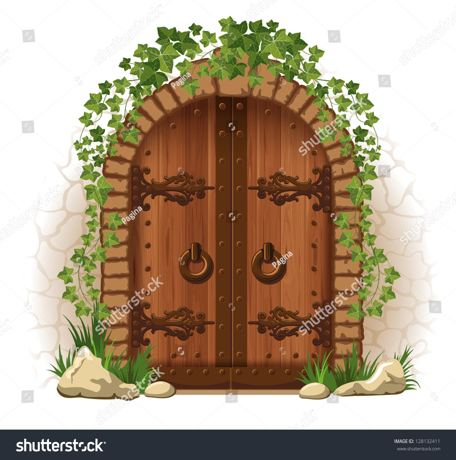 Arched Medieval Wooden Door Stone Wall Stock Vector