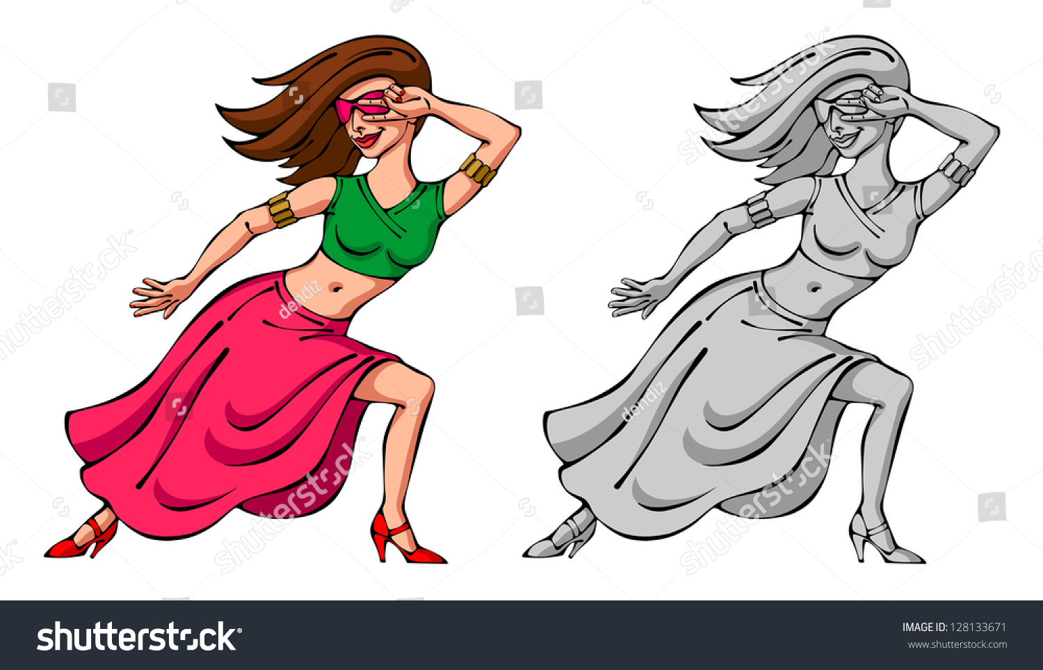 Cartoon Characters Dancing : Dancing girl character dancer cartoon stock illustration