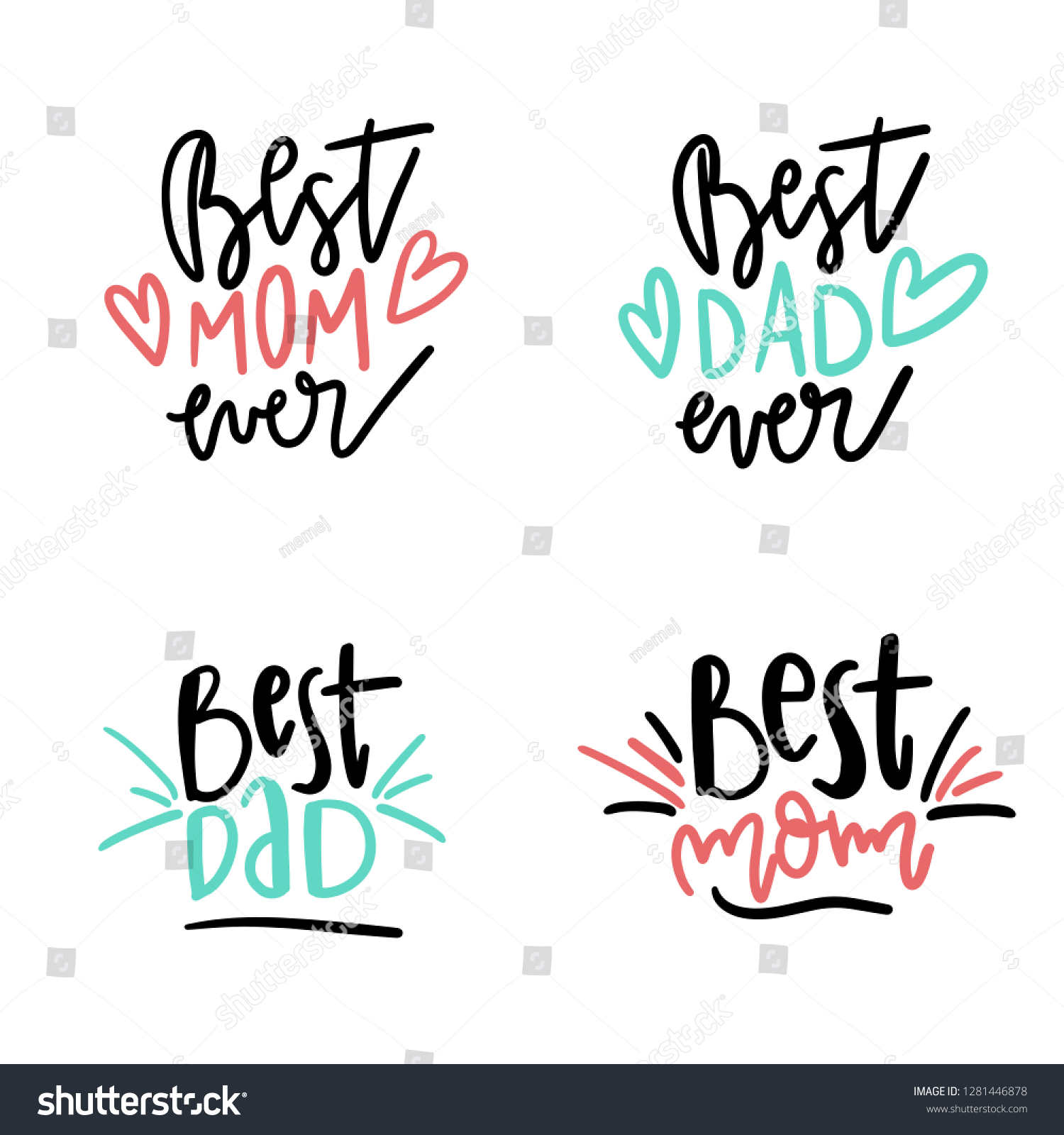 Set Best Mom Best Dad Quotes Stock Vector (Royalty Free ...