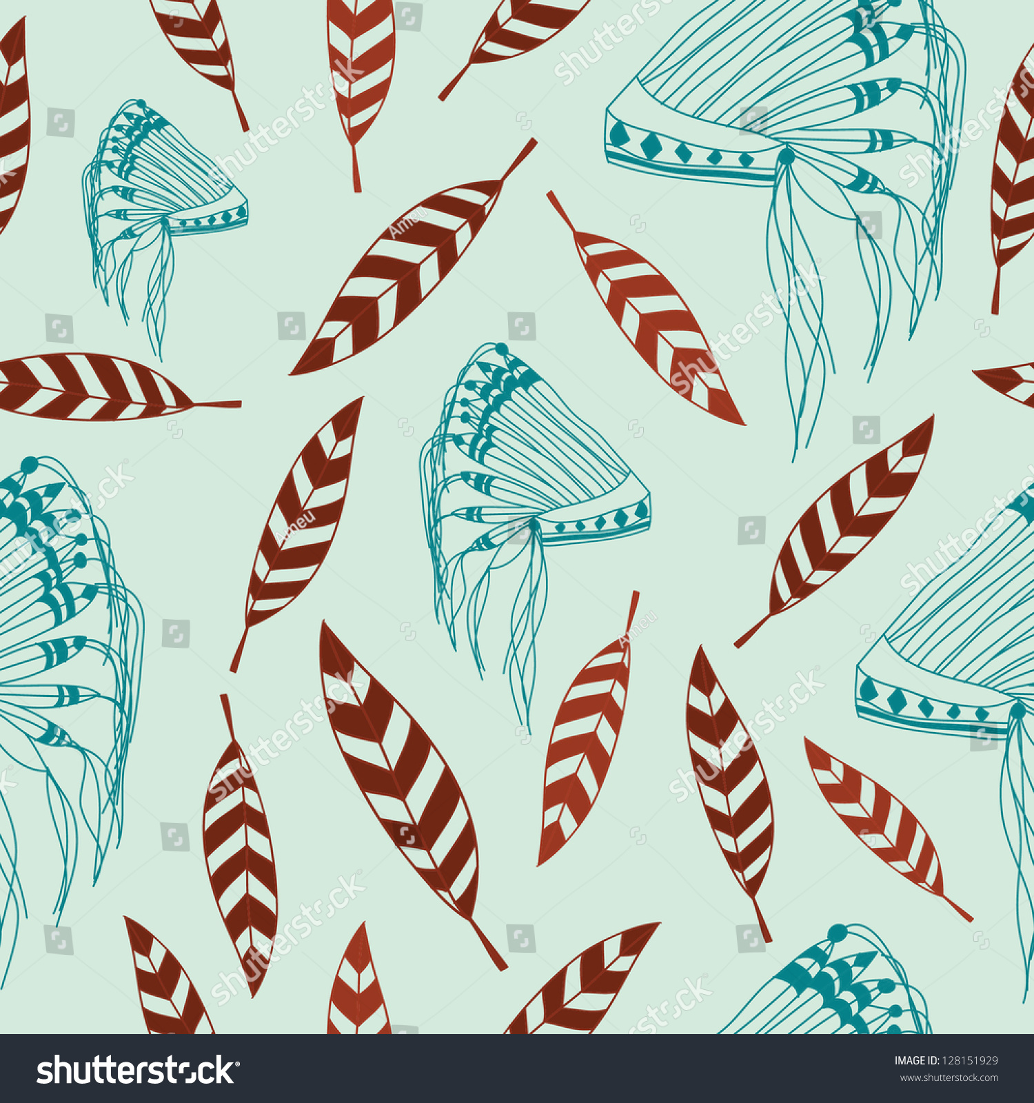Native American Headdress And Feather Vector Illustration Can Be Used For Wallpaper Patterns