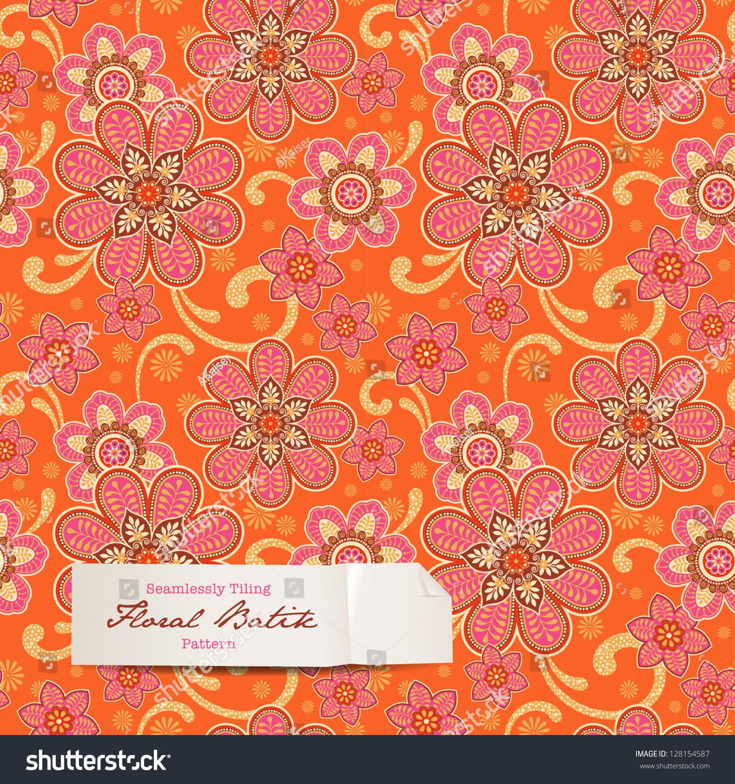Colorful Floral Batik Pattern (Seamlessly Tiling) Stock