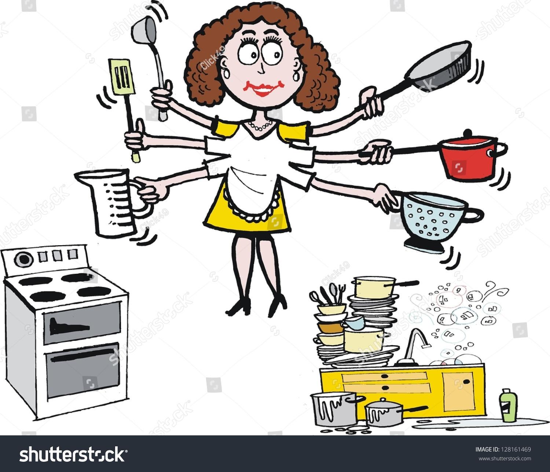 Kitchen Sink Jokes: Vector Cartoon Housewife Kitchen Pots Pans Stock Vector