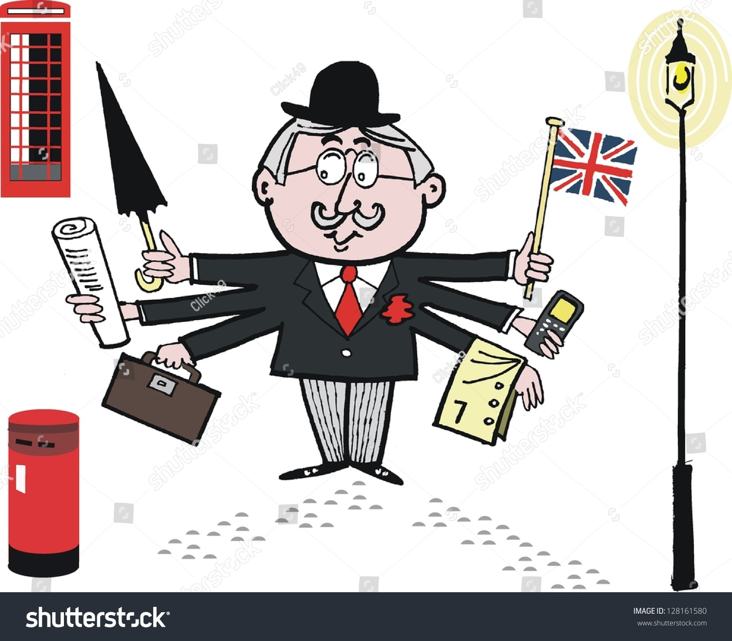 46624dad2a7 Vector cartoon of English businessman with umbrella and mobile. - Vector. bowler  hat ...