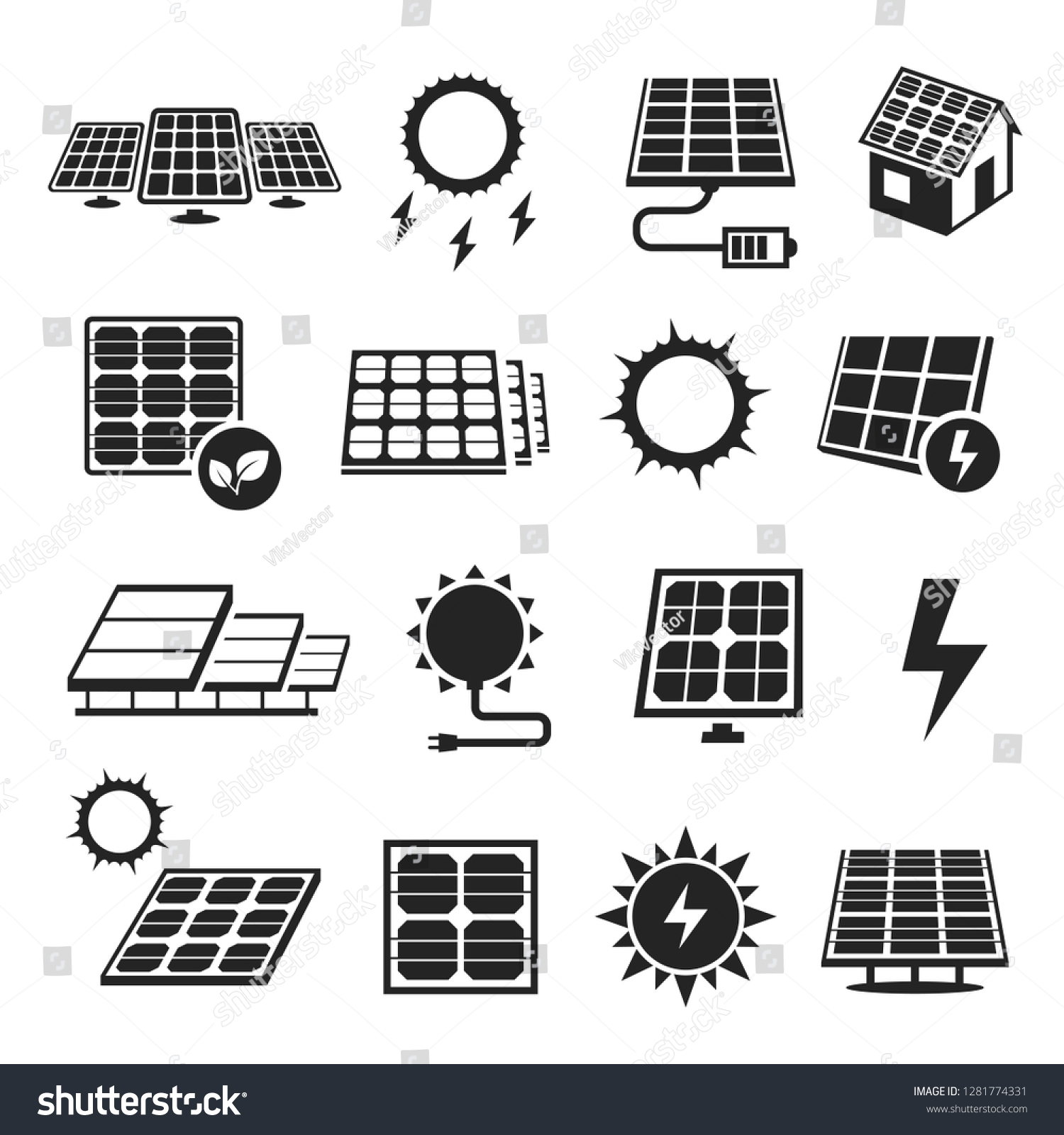 Solar Panels Technology Black White Icon Stock Vector (Royalty Free