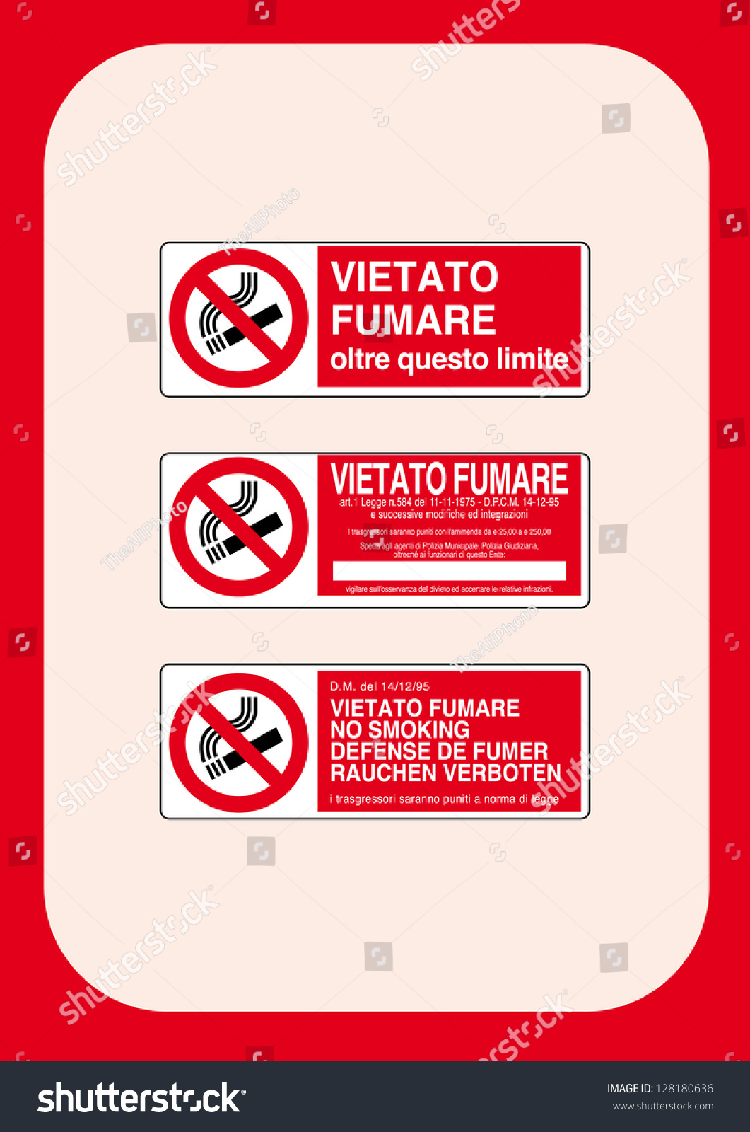Prohibition Signs No Smoking Beyond This Stock Vector 2018