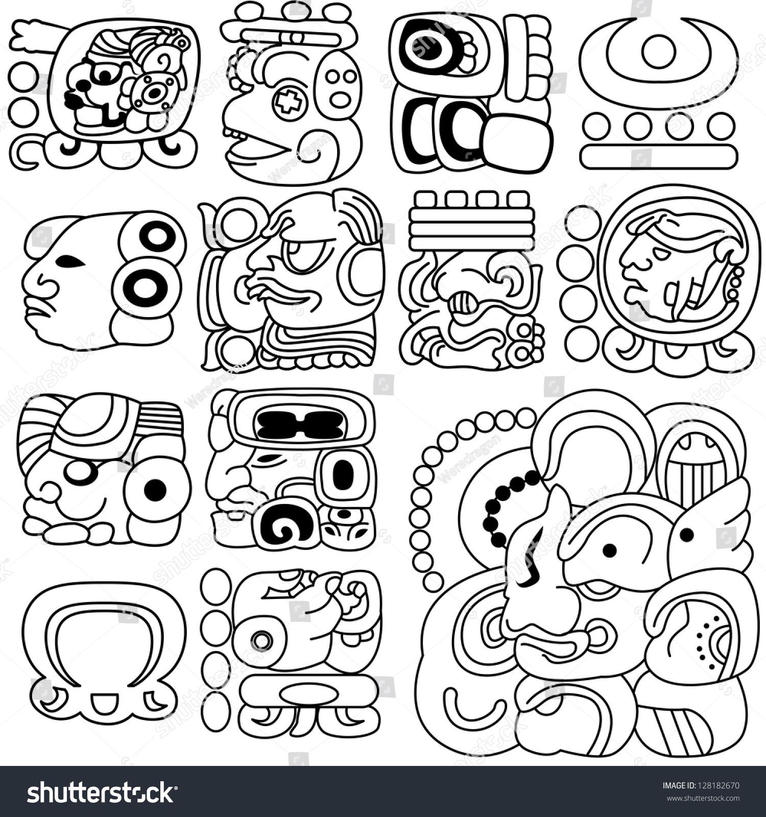 vector image ancient mayan hieroglyphs on stock vector 128182670