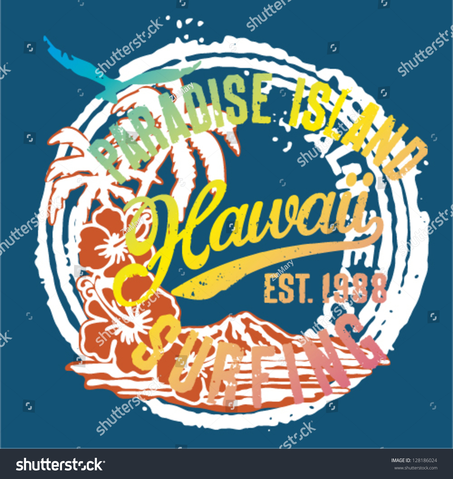 Hawaii paradise islands artwork t shirt stock vector for T shirt printing hawaii